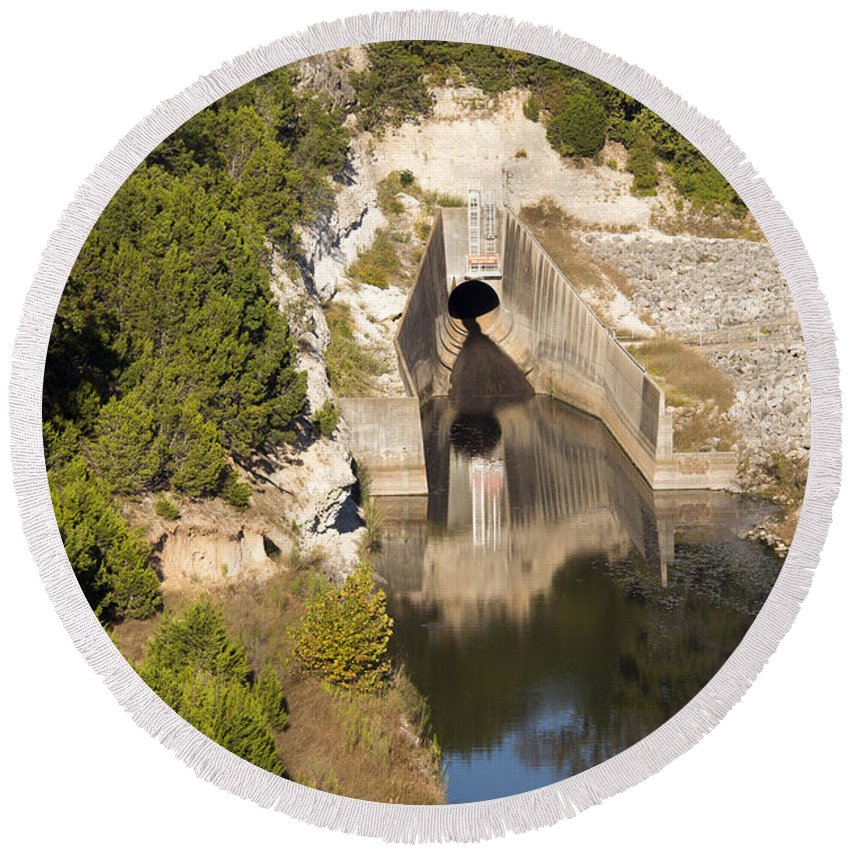 Georgetown Texas Williamson County Tree Trees San Gabriel River Rivers Water Landscape Landscapes Reflection Reflections Waterscape Waterscapes Dam Dams Rock Rocks Stone Stones Round Beach Towel featuring the photograph Water Supply by Bob Phillips