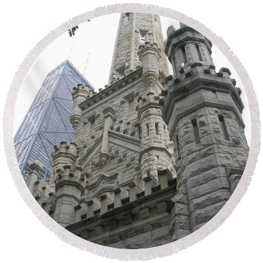 Chicago Round Beach Towel featuring the photograph Water Tower And Sears Tower by Brittany Horton