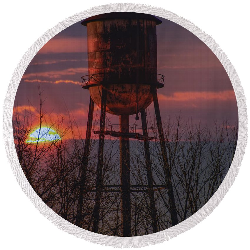 Water Round Beach Towel featuring the photograph Water Tower Sunset by Bill Cannon
