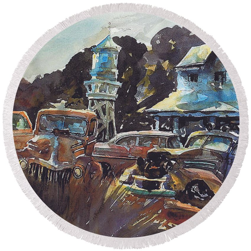 Old Cars Round Beach Towel featuring the painting Water Tower Wardens by Ron Morrison