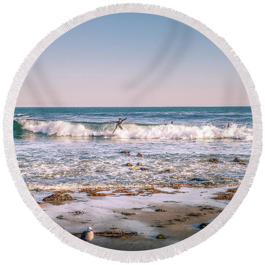 Surfer Round Beach Towel featuring the photograph Water Walker by Gene Parks