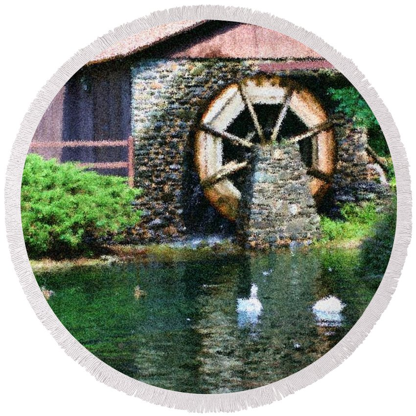 Park Round Beach Towel featuring the painting Water Wheel Duck Pond by Smilin Eyes Treasures