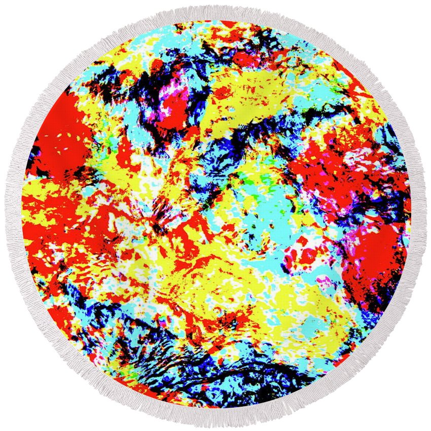 Colorful Water Art Round Beach Towel featuring the photograph Water Whimsy 180 by George Ramos