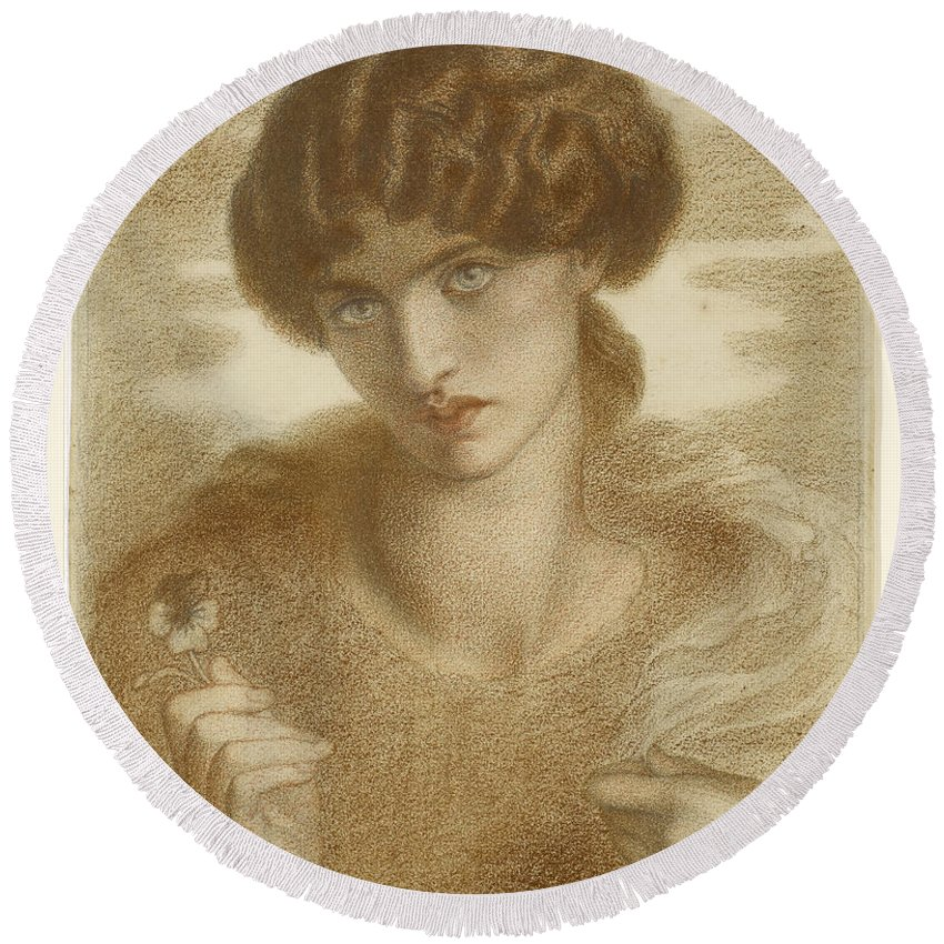 Dante Gabriel Rossetti Round Beach Towel featuring the painting Water Willow by Dante Gabriel Rossetti