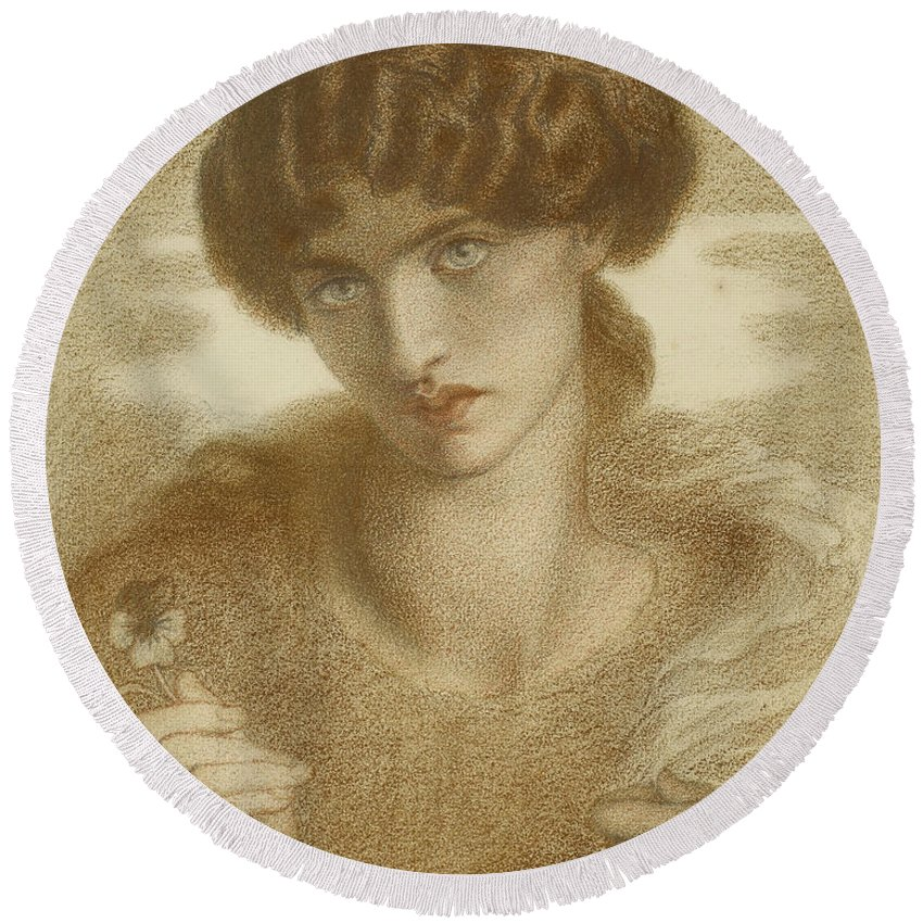 Dante Gabriel Rossetti Round Beach Towel featuring the drawing Water Willow - Study Of Female Head And Shoulders by Dante Gabriel Rossetti