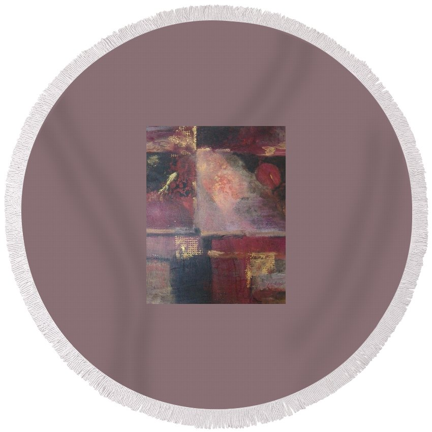 Abstract Round Beach Towel featuring the mixed media Waterbucket by Pat Snook