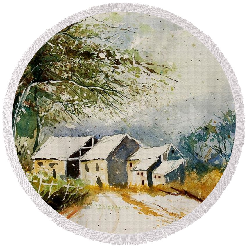 Landscape Round Beach Towel featuring the painting Watercolor 010708 by Pol Ledent