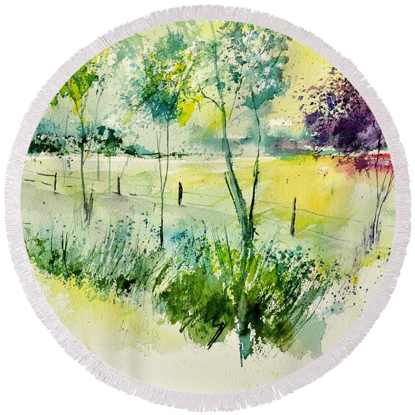 Landscape Round Beach Towel featuring the painting Watercolor 014052 by Pol Ledent