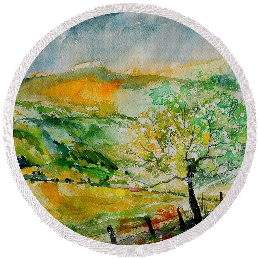 Landscape Round Beach Towel featuring the painting Watercolor 014091 by Pol Ledent