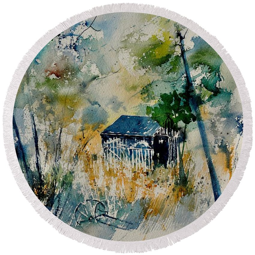 Landscape Round Beach Towel featuring the painting Watercolor 015042 by Pol Ledent