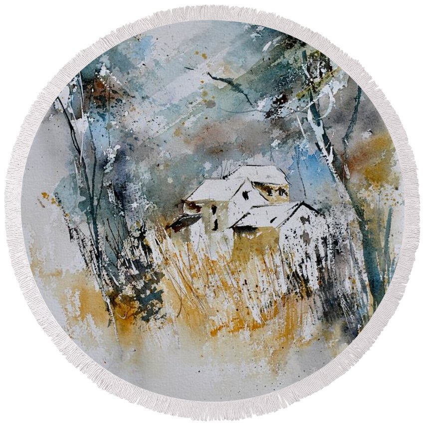Landscape Round Beach Towel featuring the painting Watercolor 015060 by Pol Ledent