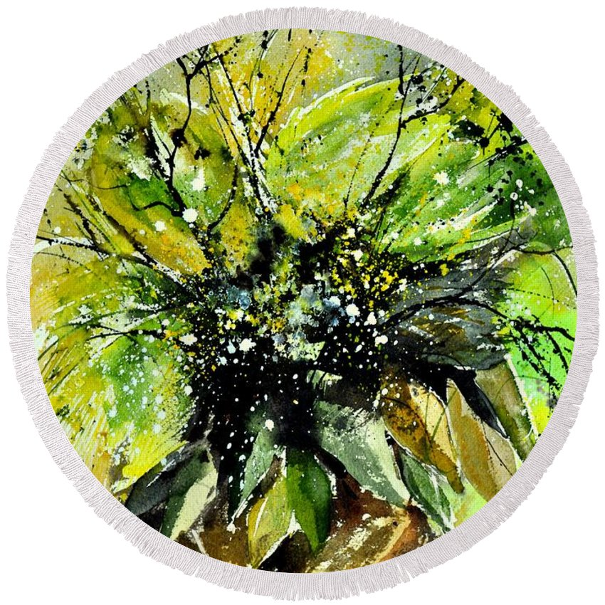 Flowers Round Beach Towel featuring the painting Watercolor 016070 by Pol Ledent