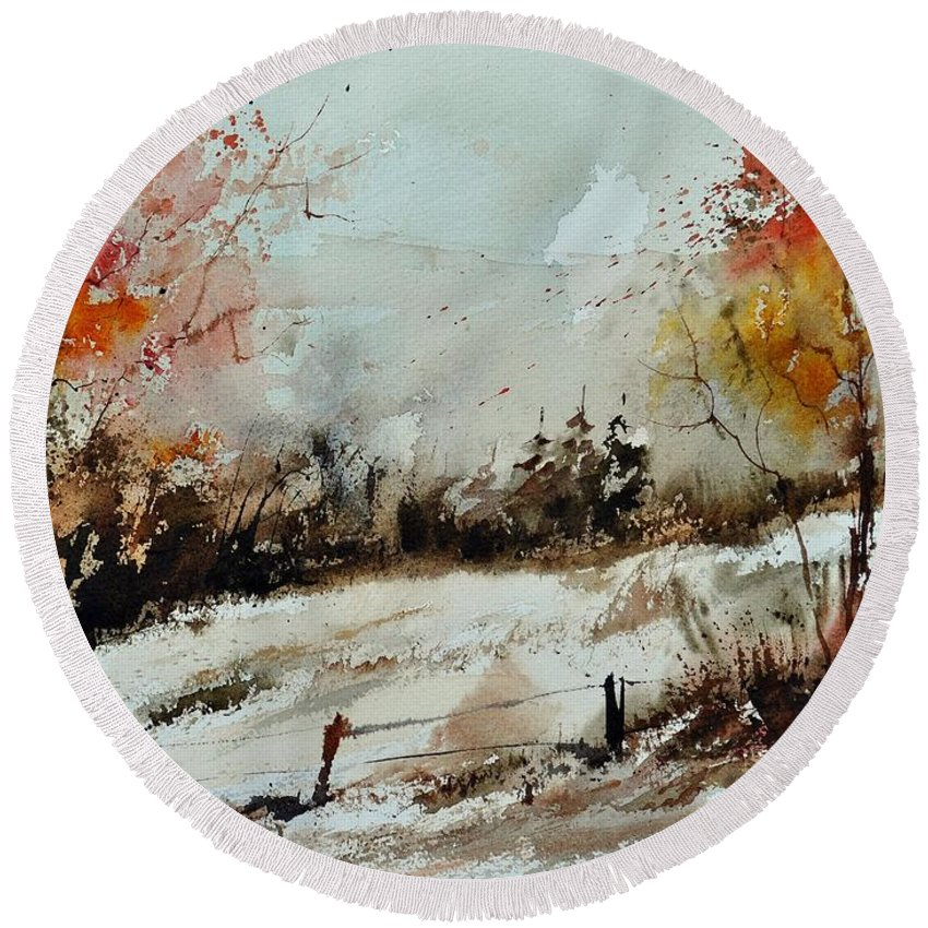 Round Beach Towel featuring the painting Watercolor 018090 by Pol Ledent