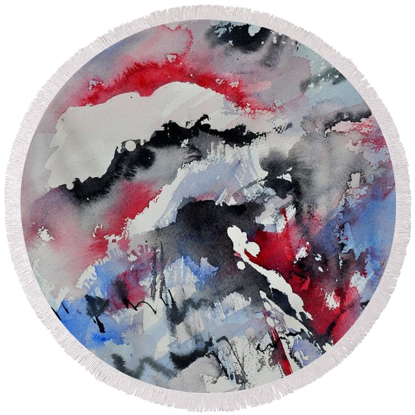 Abstract Round Beach Towel featuring the painting Watercolor 0410563 by Pol Ledent