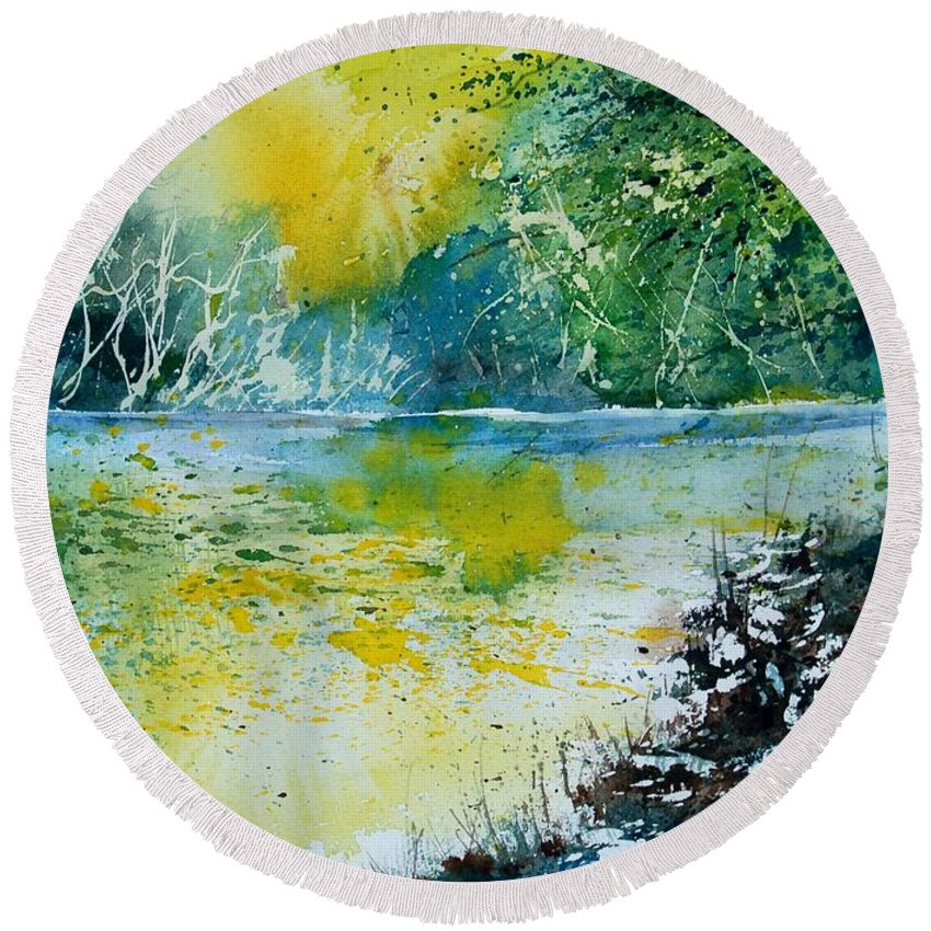 Pond Round Beach Towel featuring the painting Watercolor 051108 by Pol Ledent