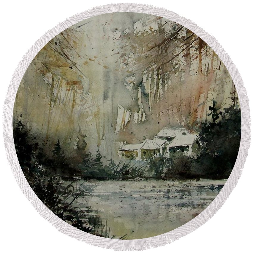 Landscape Round Beach Towel featuring the painting Watercolor 070608 by Pol Ledent
