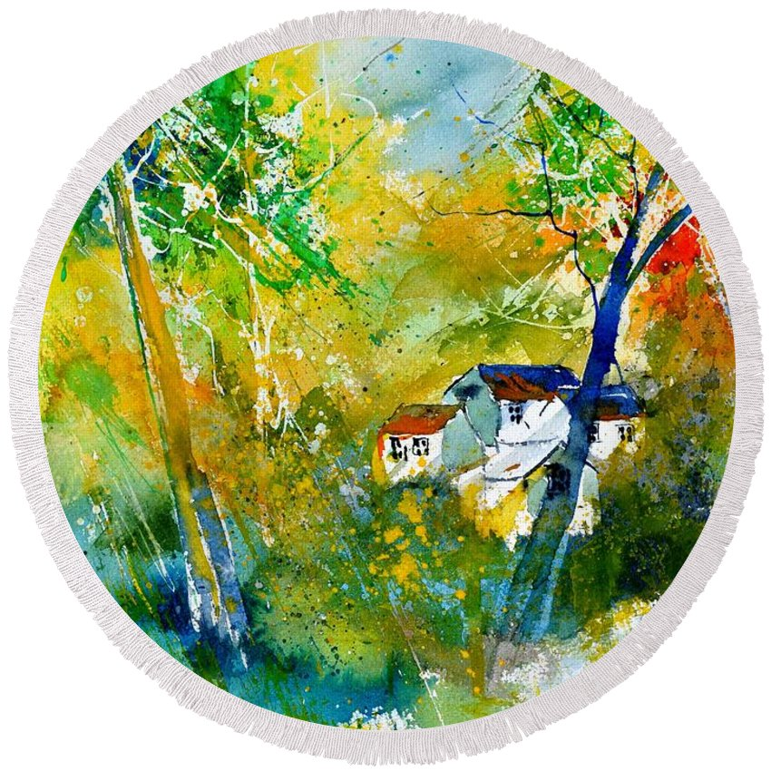 Landscape Round Beach Towel featuring the painting Watercolor 115021 by Pol Ledent