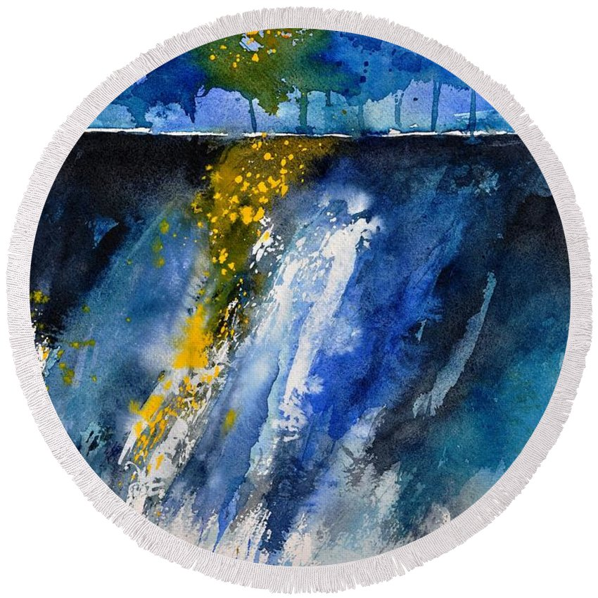 Abstract Round Beach Towel featuring the painting Watercolor 119001 by Pol Ledent