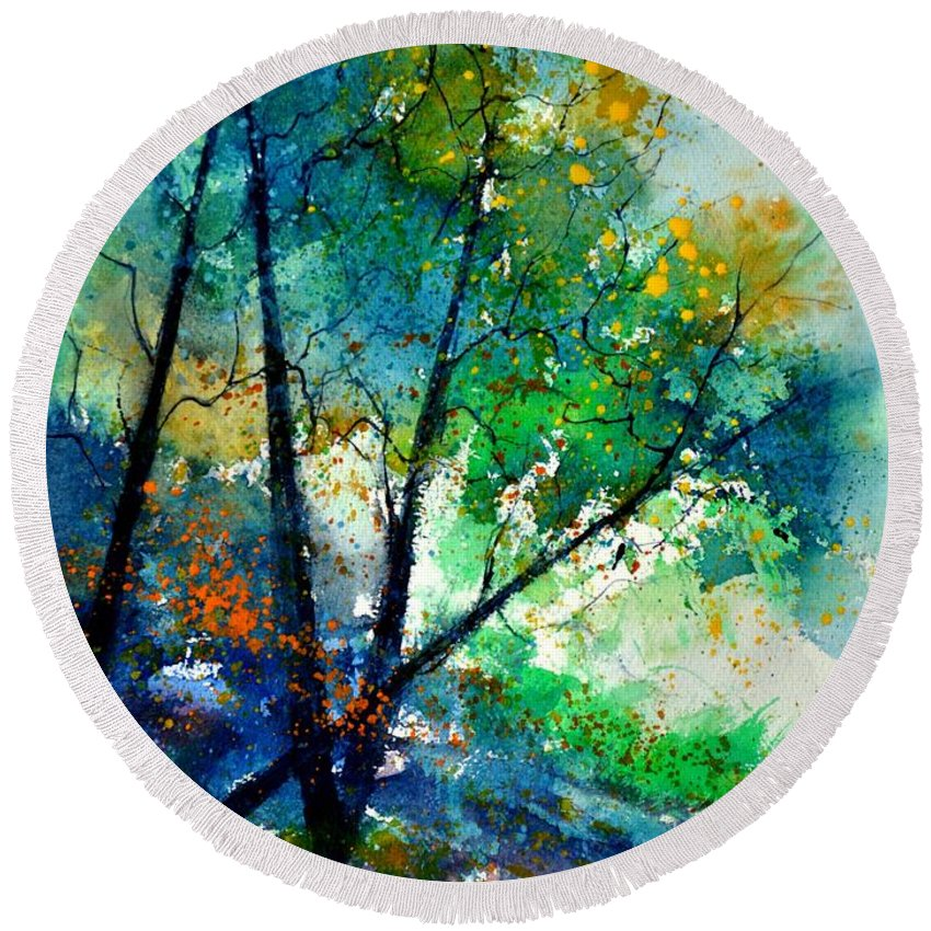 Landscape  Round Beach Towel featuring the painting Watercolor 119042 by Pol Ledent