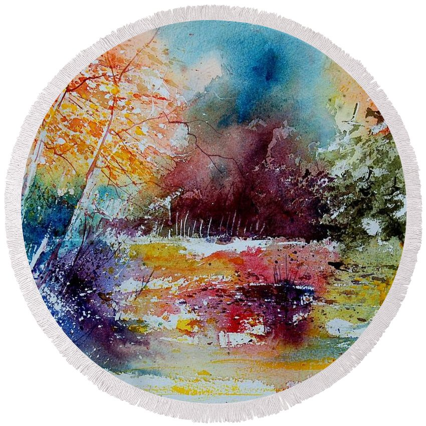 Pond Round Beach Towel featuring the painting Watercolor 140908 by Pol Ledent