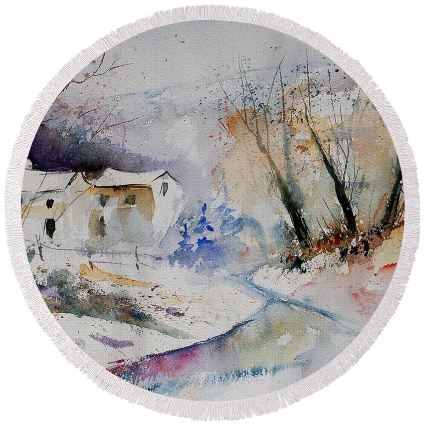 Village Round Beach Towel featuring the painting Watercolor 15823 by Pol Ledent