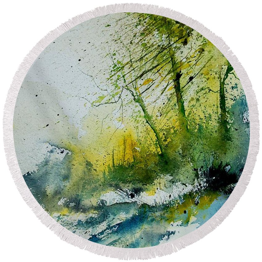 River Round Beach Towel featuring the painting Watercolor 181207 by Pol Ledent