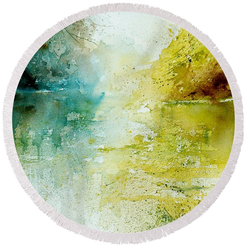 Pond Nature Landscape Round Beach Towel featuring the painting Watercolor 24465 by Pol Ledent