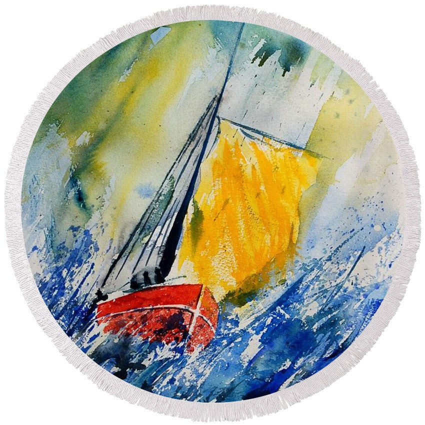 Sea Waves Ocean Boat Sailing Round Beach Towel featuring the painting Watercolor 280308 by Pol Ledent