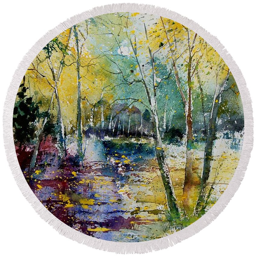 Pond Round Beach Towel featuring the painting Watercolor 280809 by Pol Ledent