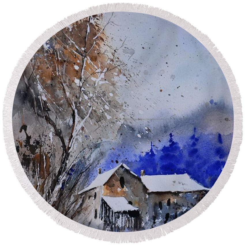Landscape Round Beach Towel featuring the painting Watercolor 45512113 by Pol Ledent