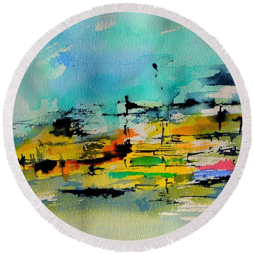 Abstract Round Beach Towel featuring the painting Watercolor 514020 by Pol Ledent