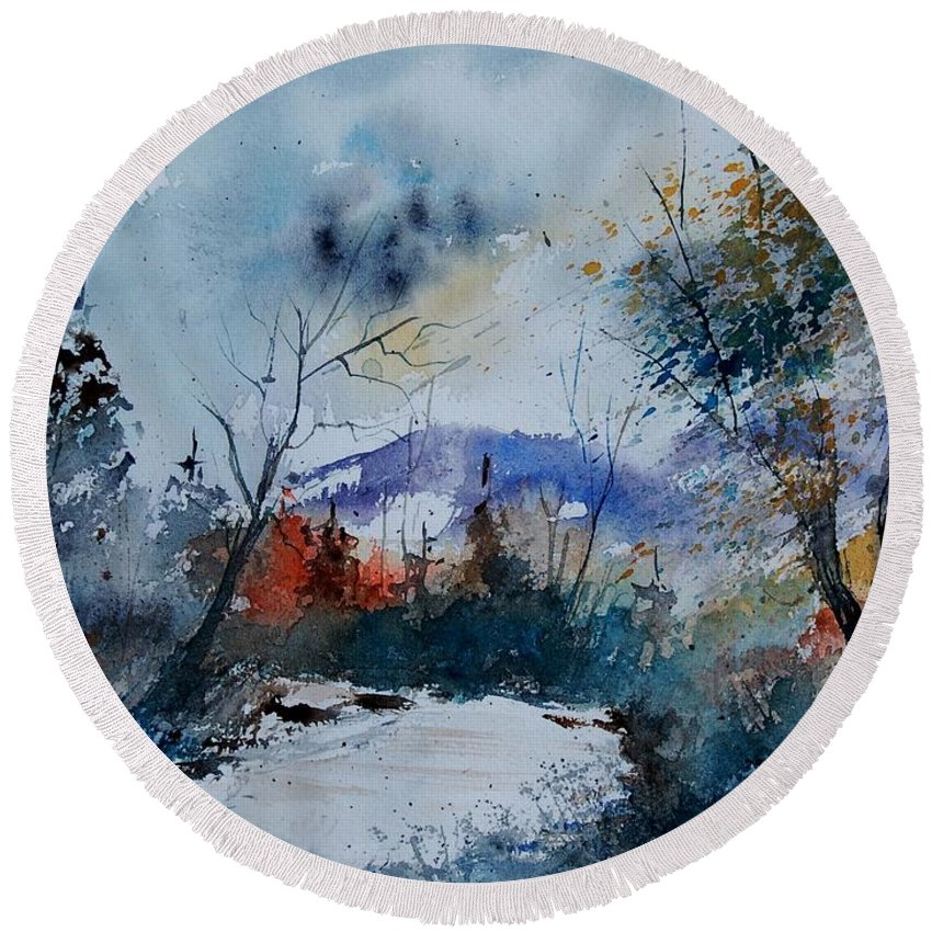 Landscape Round Beach Towel featuring the painting Watercolor 802120 by Pol Ledent