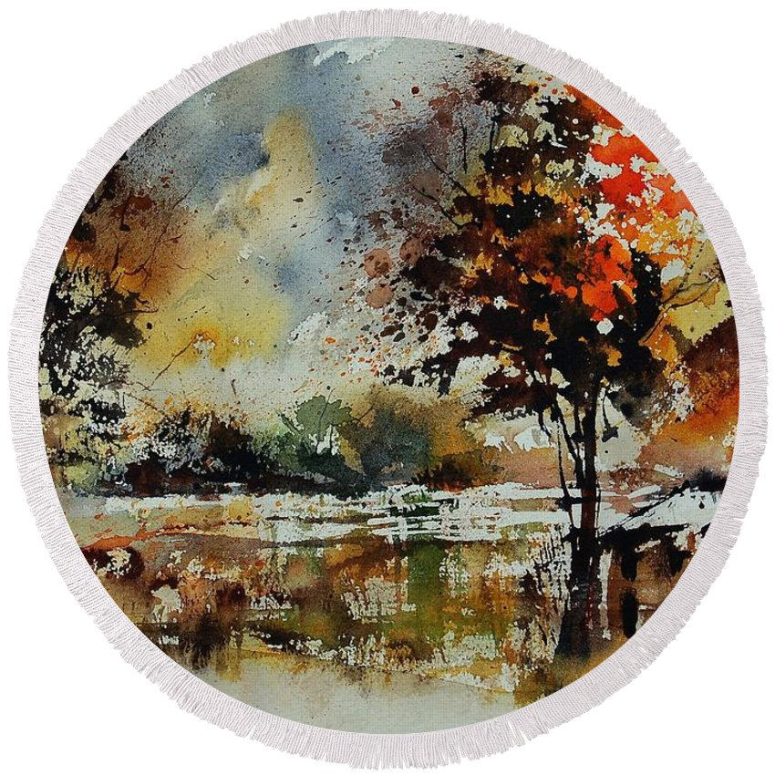 Tree Round Beach Towel featuring the painting Watercolor 900152 by Pol Ledent