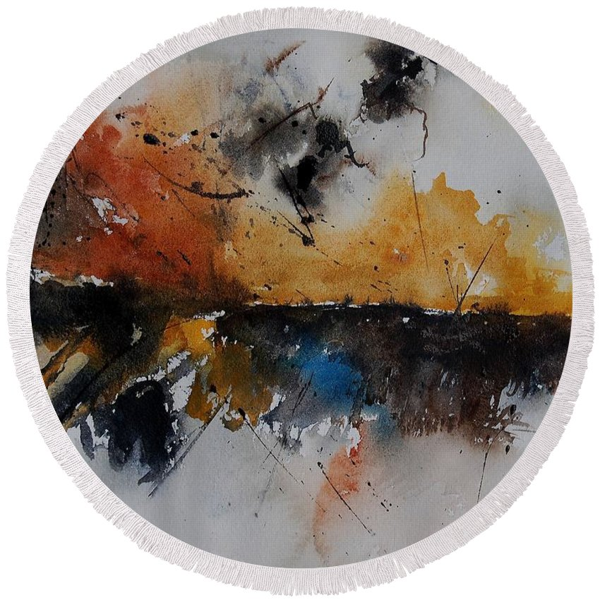 Abstract Round Beach Towel featuring the painting Watercolor 901150 by Pol Ledent