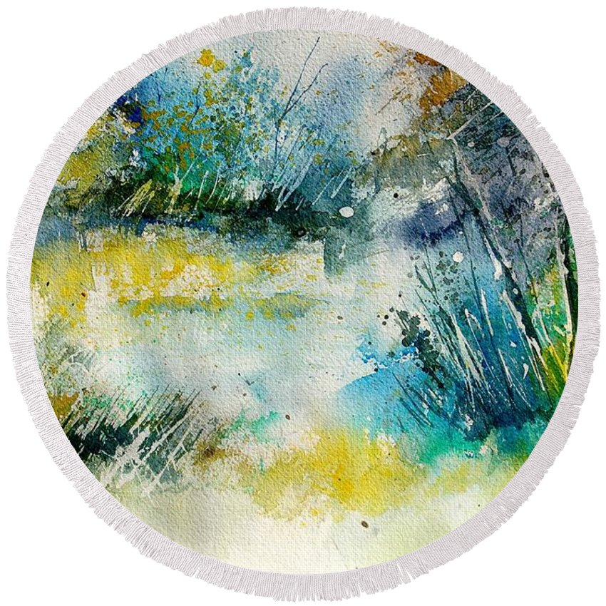 Water Round Beach Towel featuring the painting Watercolor 906020 by Pol Ledent