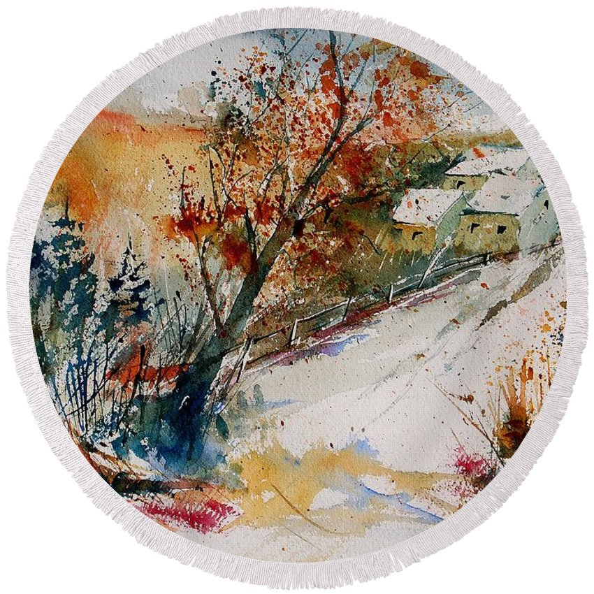 Tree Round Beach Towel featuring the painting Watercolor 908002 by Pol Ledent