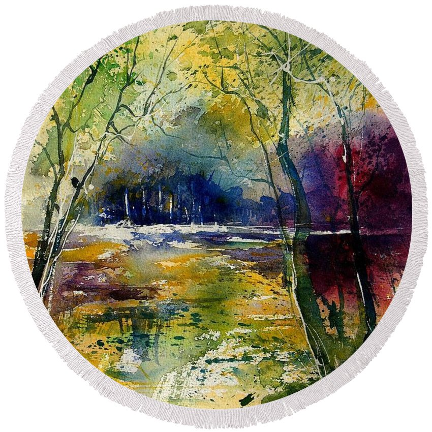 River Round Beach Towel featuring the painting Watercolor 908010 by Pol Ledent