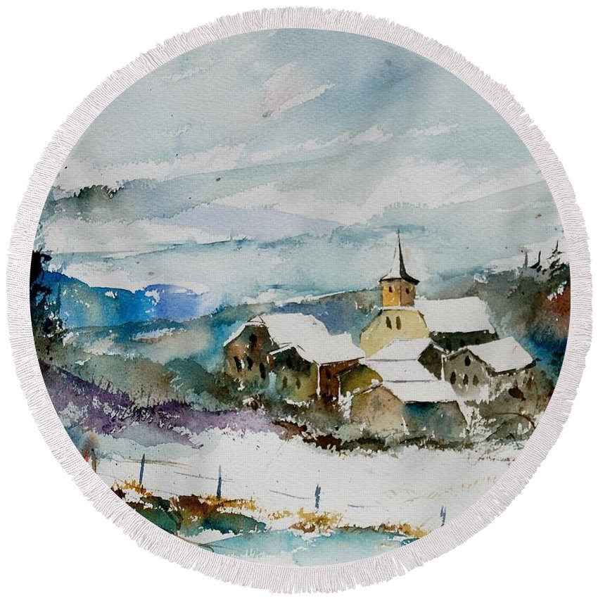 Winter Round Beach Towel featuring the painting Watercolor 908011 by Pol Ledent