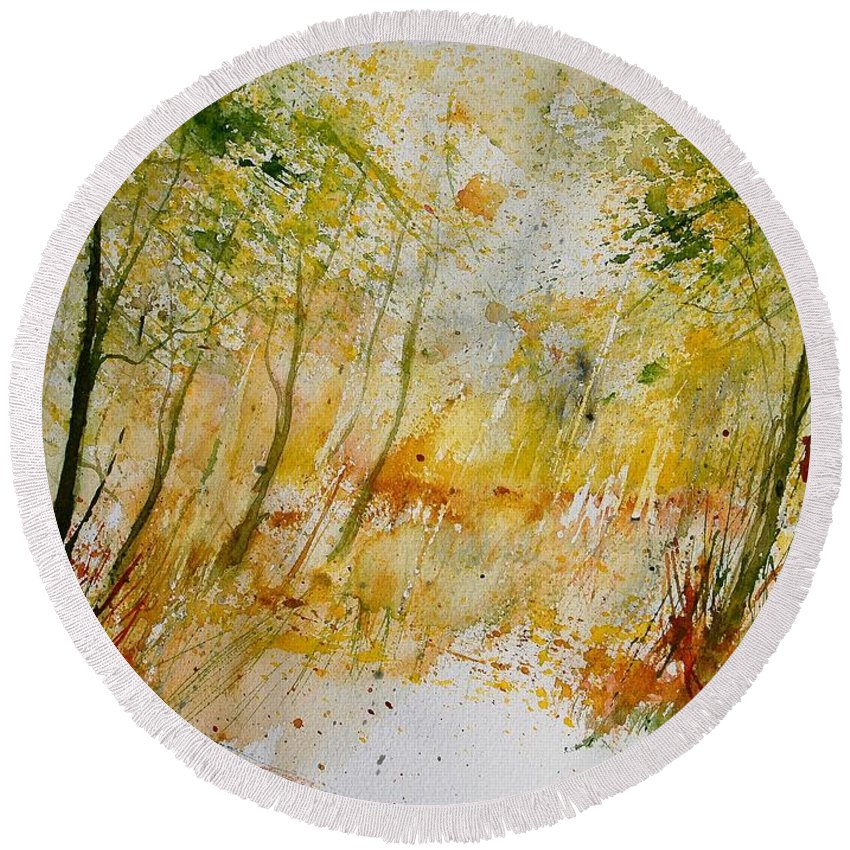 Tree Round Beach Towel featuring the painting Watercolor 908012 by Pol Ledent