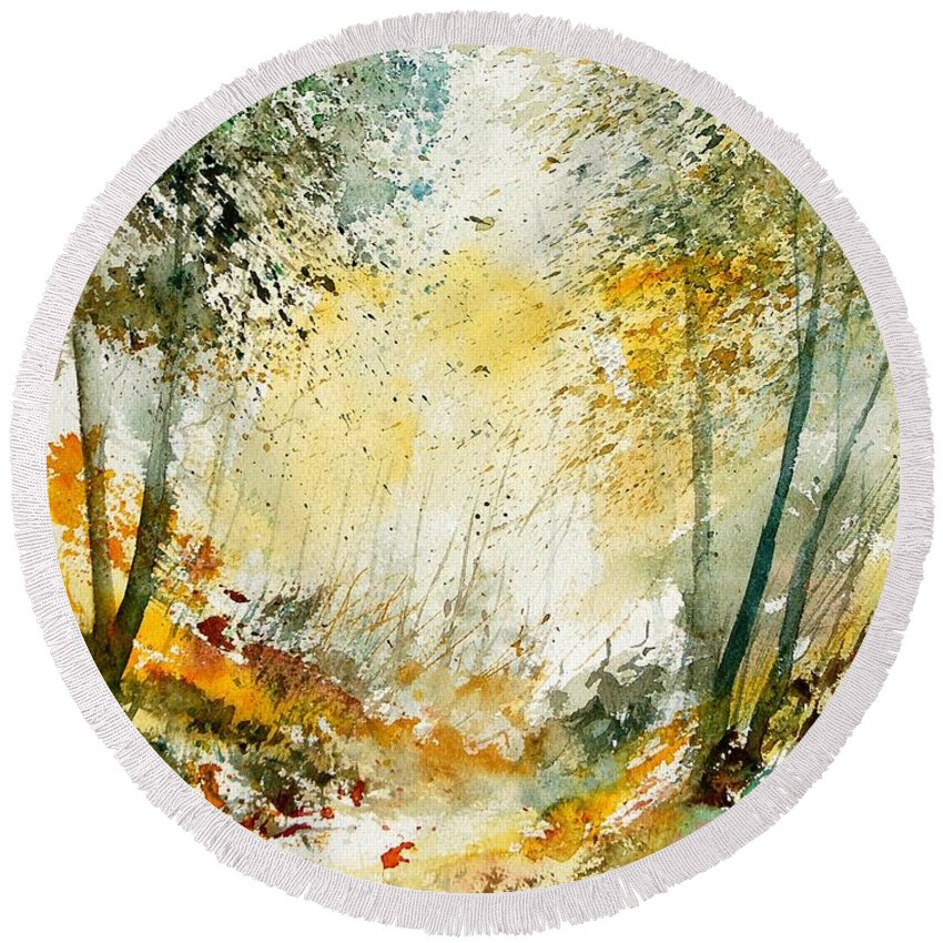 Tree Round Beach Towel featuring the painting Watercolor 908021 by Pol Ledent