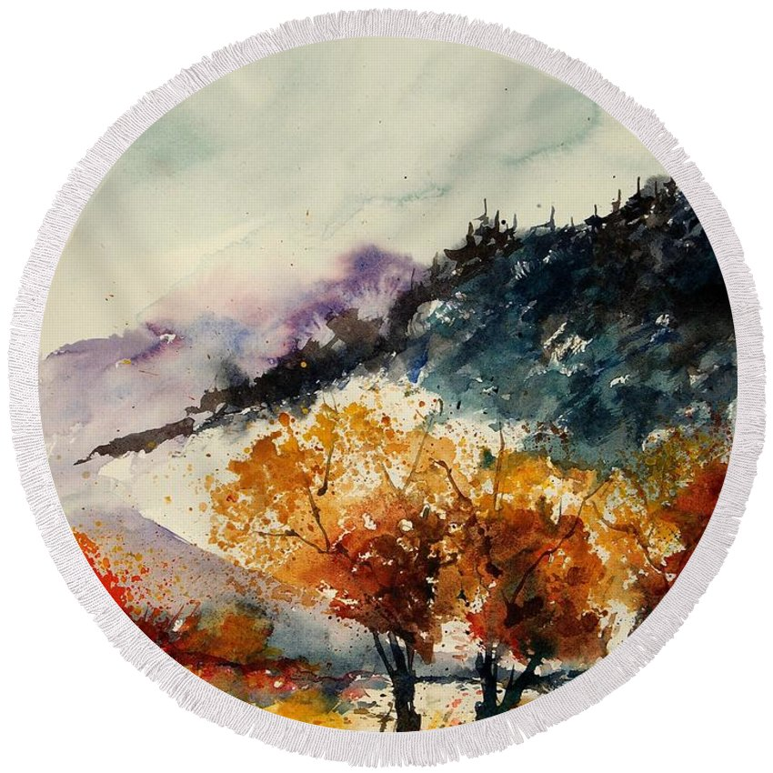 Tree Round Beach Towel featuring the painting Watercolor 908041 by Pol Ledent