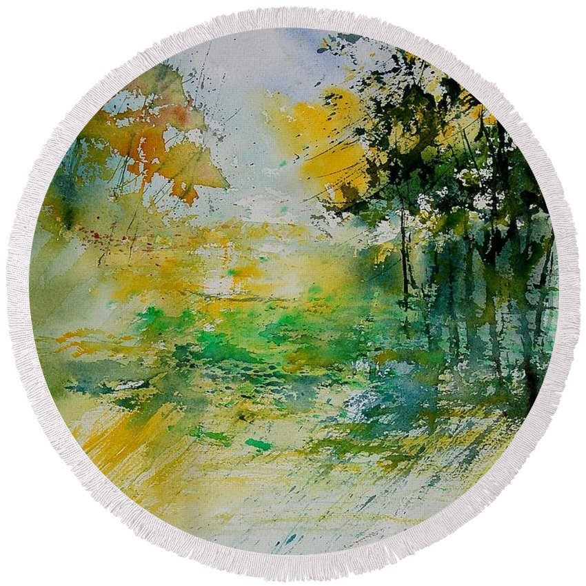 Water Round Beach Towel featuring the painting Watercolor 908051 by Pol Ledent