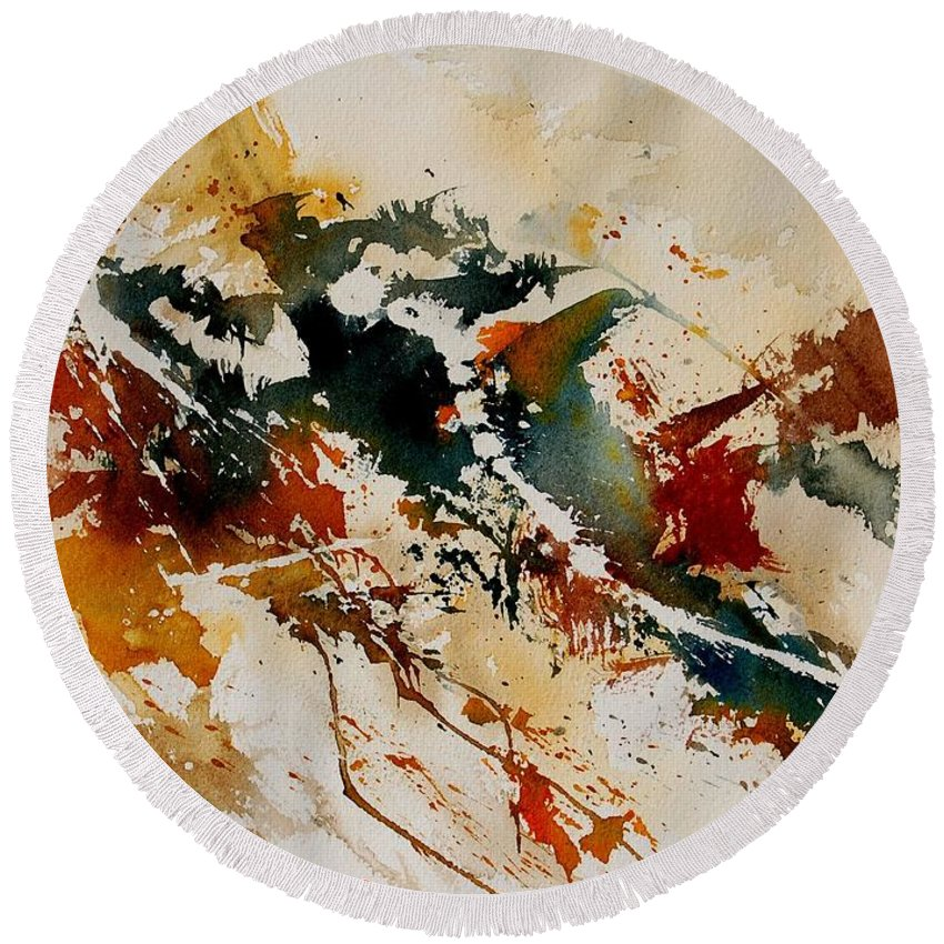 Abstract Round Beach Towel featuring the painting Watercolor 90861 by Pol Ledent