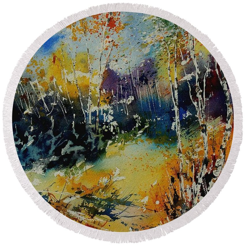 Tree Round Beach Towel featuring the painting Watercolor 909052 by Pol Ledent