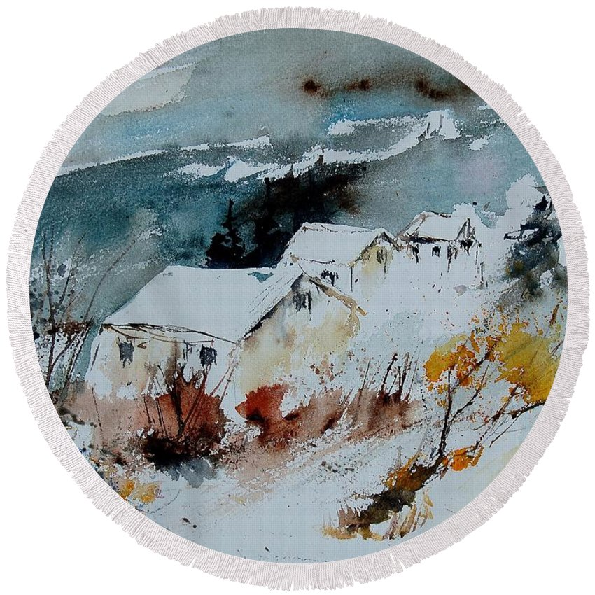 Winter Round Beach Towel featuring the painting Watercolor 9090723 by Pol Ledent