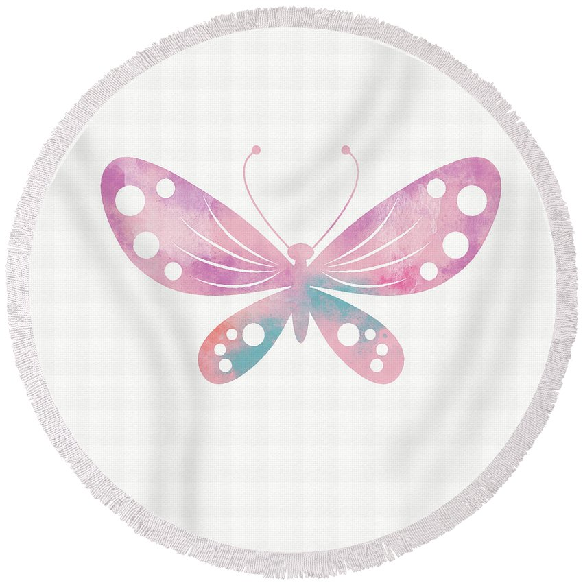 Butterfly Round Beach Towel featuring the mixed media Watercolor Butterfly 1- Art By Linda Woods by Linda Woods