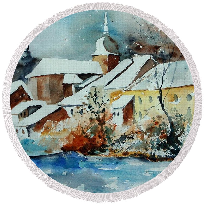 Landscape Round Beach Towel featuring the painting Watercolor Chassepierre by Pol Ledent