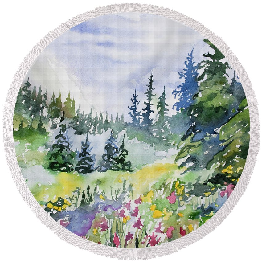 Landscape Round Beach Towel featuring the painting Watercolor - Colorado Summer Scene by Cascade Colors