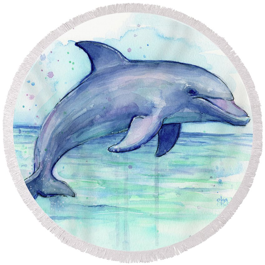 Dolphin Round Beach Towel featuring the painting Watercolor Dolphin Painting - Facing Right by Olga Shvartsur