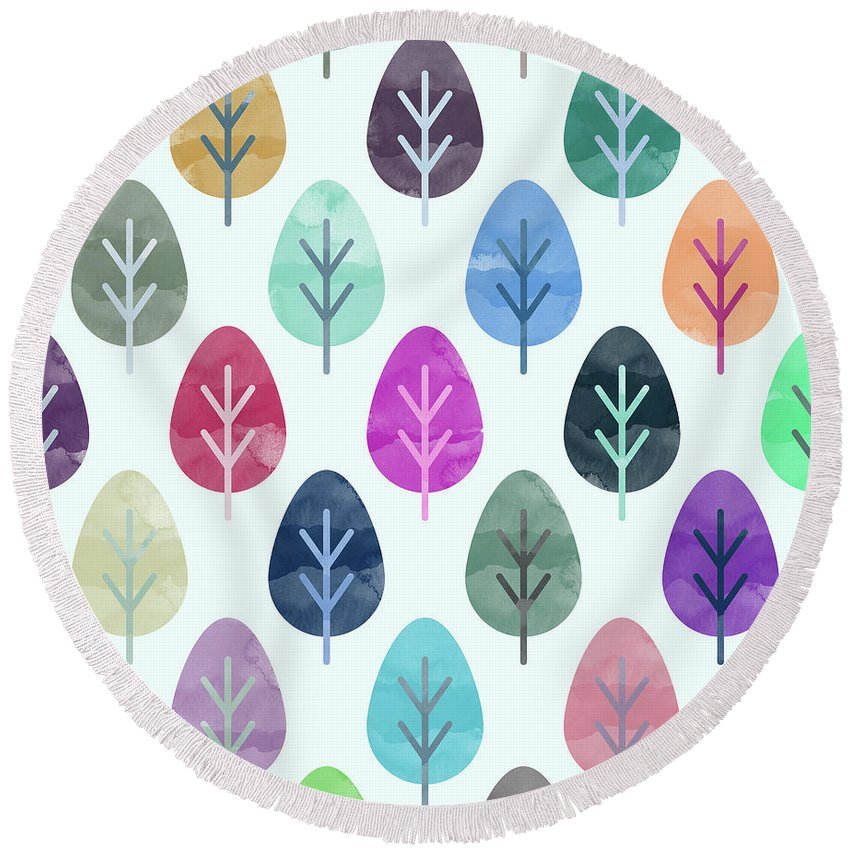 Watercolor Round Beach Towel featuring the digital art Watercolor forest pattern by Amir Faysal